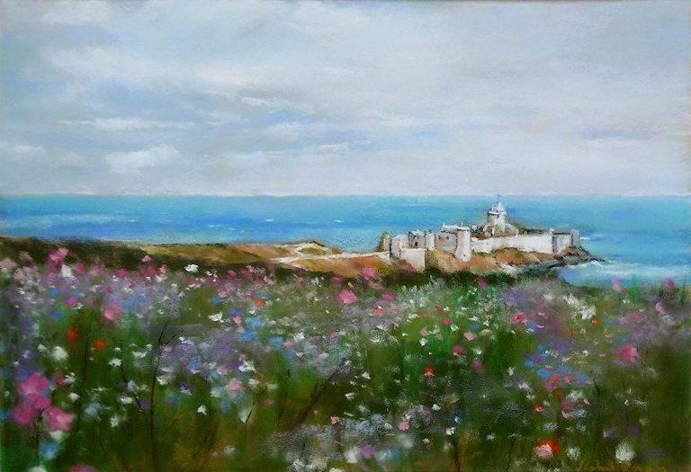 Fort la Latte - Peinture au pastel sec par l'artiste peintre Isabelle Douzamy - 61.5x 81.5cm (encadré)