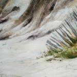 Ganivelle Grande plage de Saint-Cast - Peinture au pastel sec par l'artiste peintre Isabelle Douzamy - 40x50 cm - Collection privée