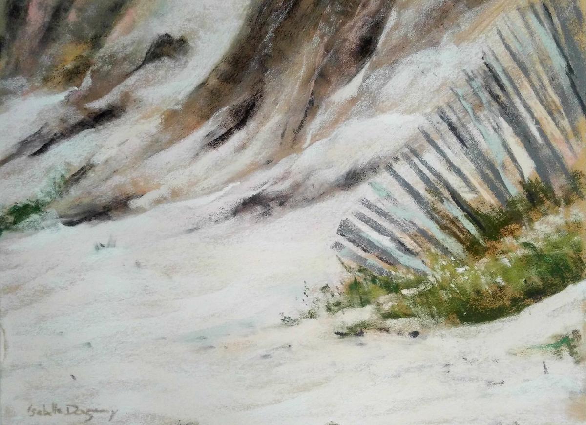 Ganivelle Grande plage de Saint-Cast - Peinture au pastel sec par l'artiste peintre Isabelle Douzamy - 40x50 cm