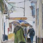 Personnages dans la rue de Grenade - Pastel sec par Isabelle Douzamy - 40x51 cm - 650€