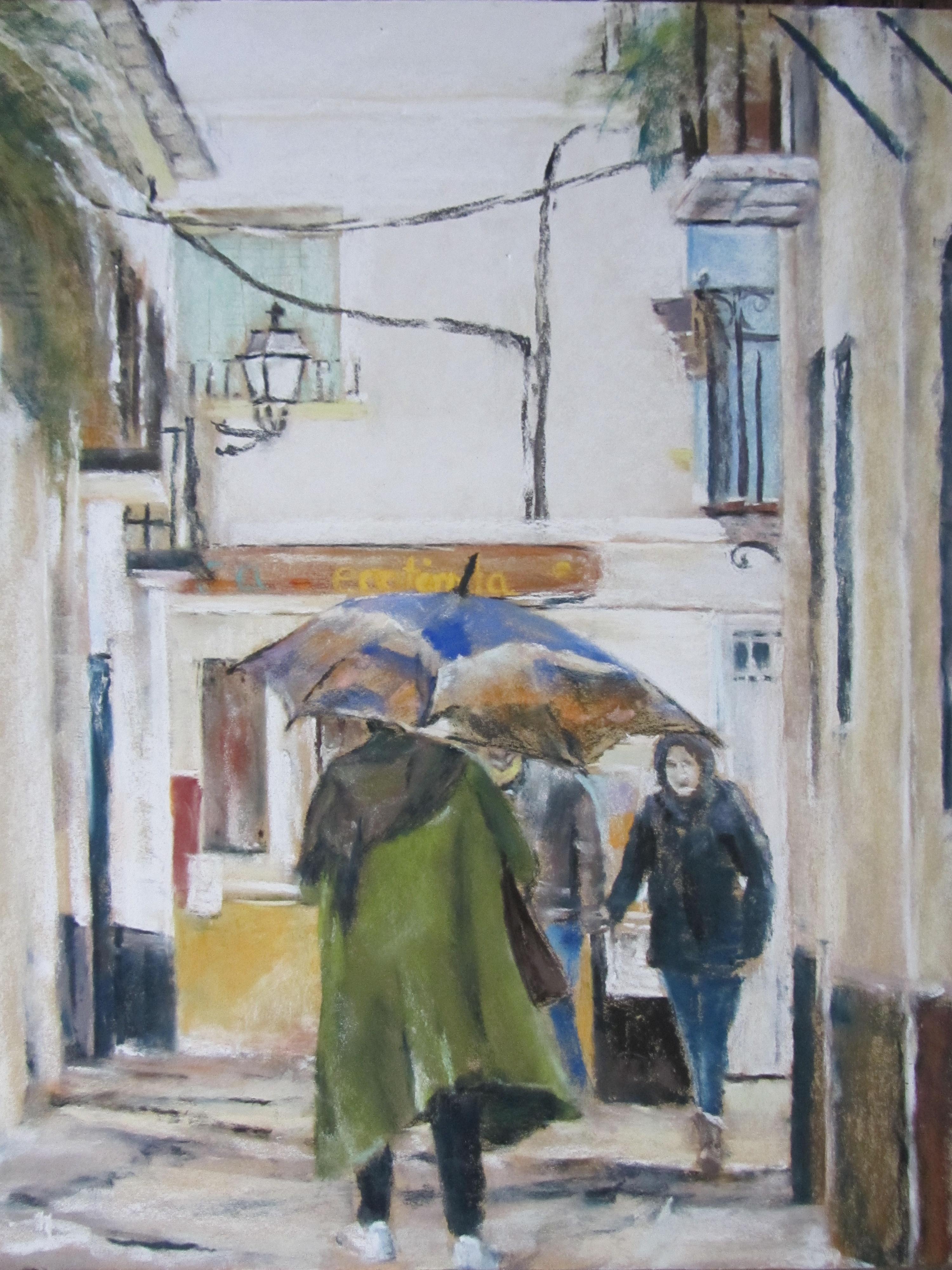 Personnages dans la rue de Grenade - Pastel sec par Isabelle Douzamy - 40x51 cm