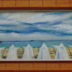 Horizon à Saint-Cast-le-Guildo - Peinture au pastel sec par l'artiste peintre Isabelle Douzamy - Panoramique 28x68 cm (encadré)