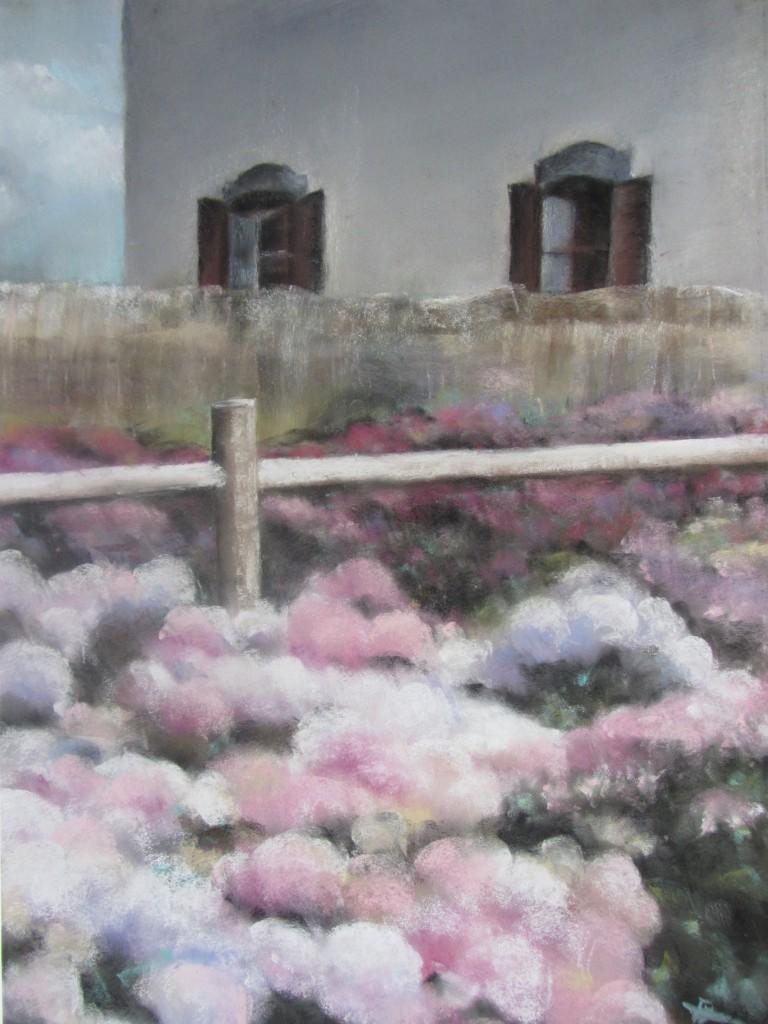 Hortensias Ploërmel - Pastel sec par Isabelle Douzamy - 50x65 cm - Collection privée