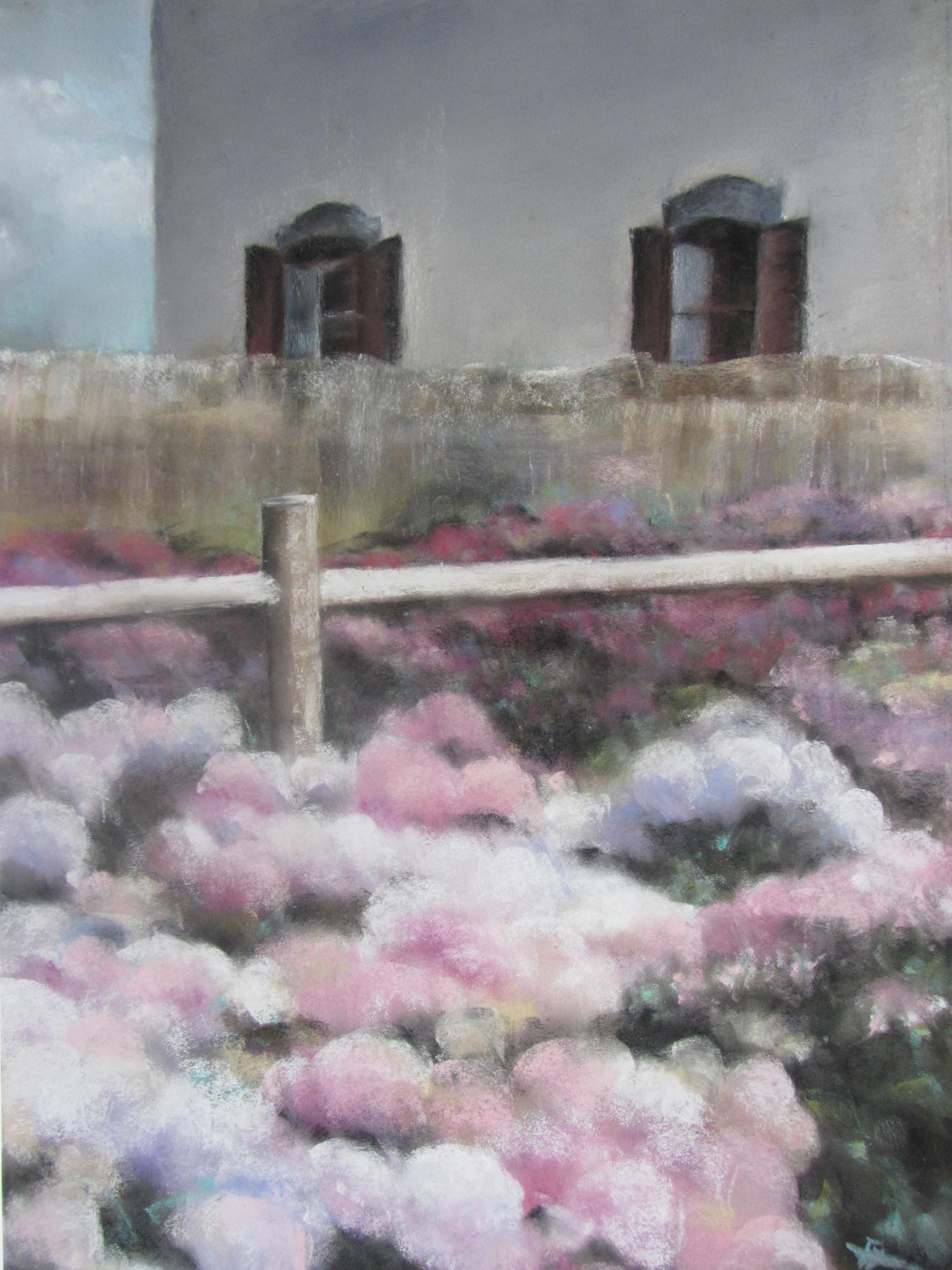 Hortensias Ploërmel - Pastel sec par Isabelle Douzamy - 50x65 cm