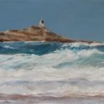 La chapelle de l'îlot Saint-Michel - Peinture au pastel sec par l'artiste peintre Isabelle Douzamy - 40x50cm - 400€