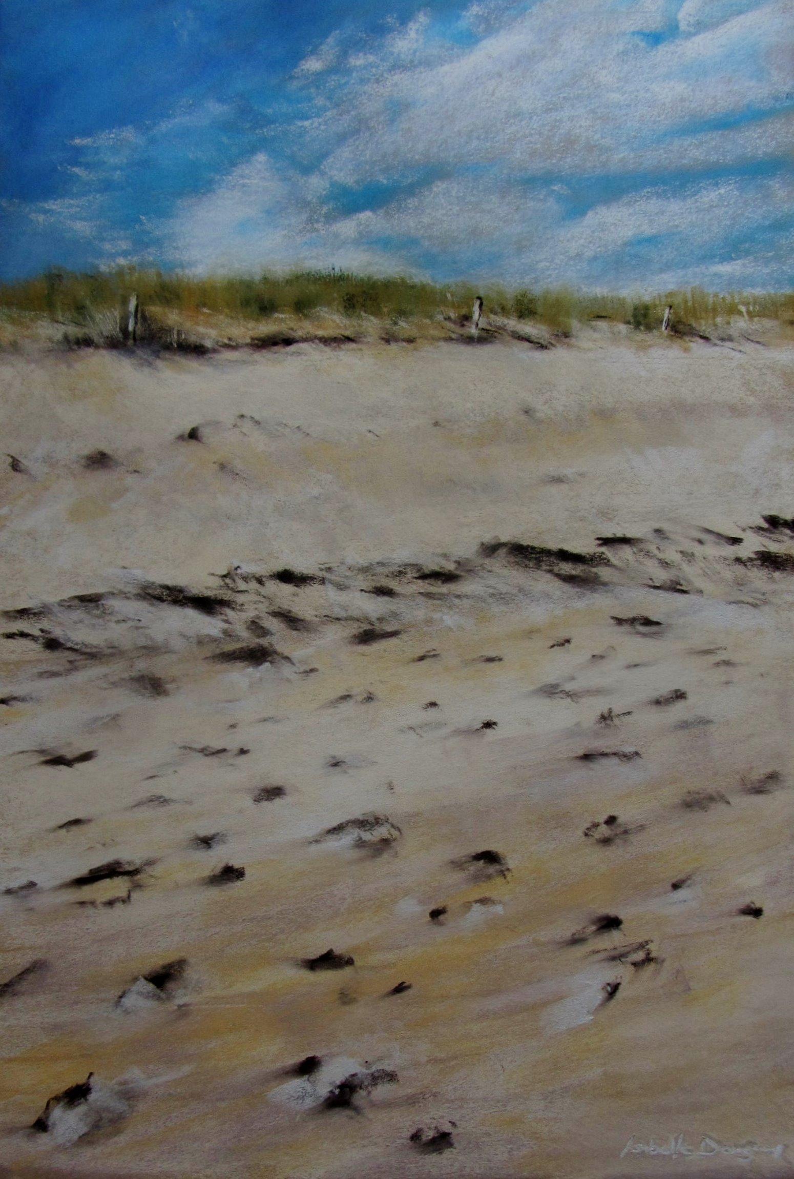 La dune - Peinture au pastel sec par l'artiste peintre Isabelle Douzamy - 51x71 cm (encadré)
