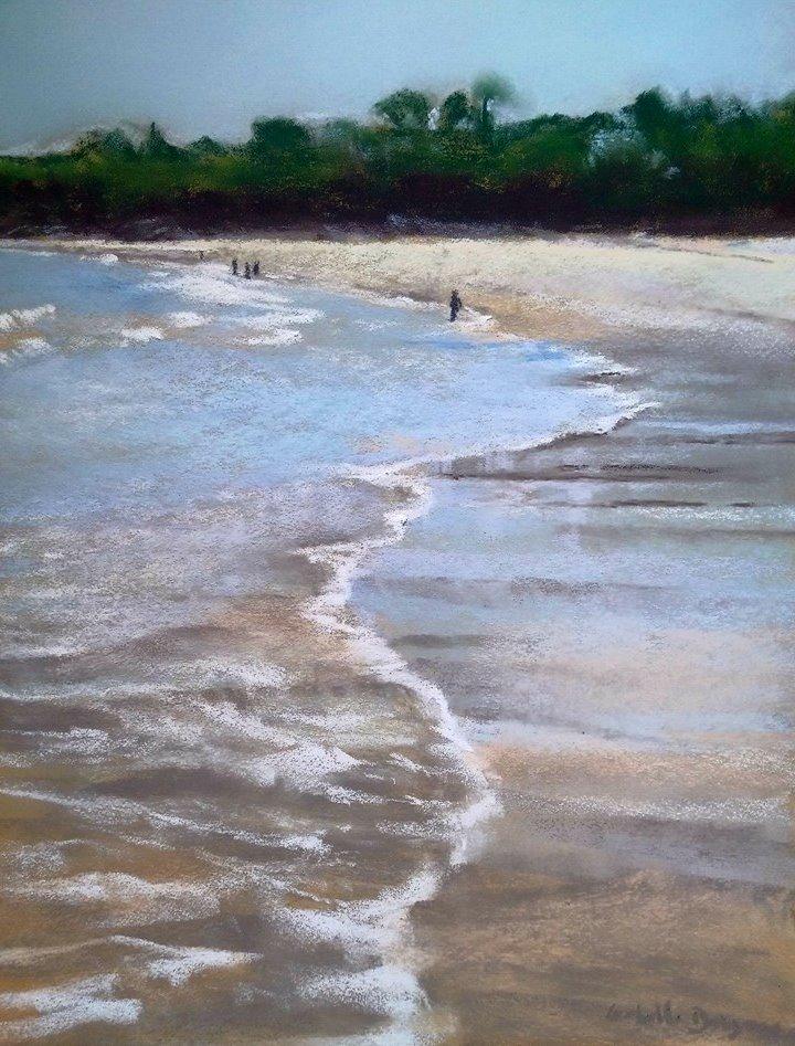 La grande plage de Saint-Cast-le-Guildo - Ar Vro - Peinture au pastel sec par l'artiste peintre Isabelle Douzamy - 40x50 cm (encadré)