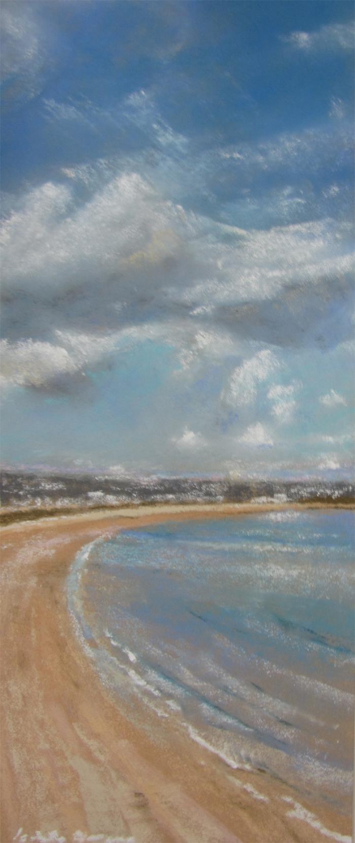 La grande plage des Mielles à St-Cast - Peinture au pastel sec par l'artiste peintre Isabelle Douzamy - 30x57 cm