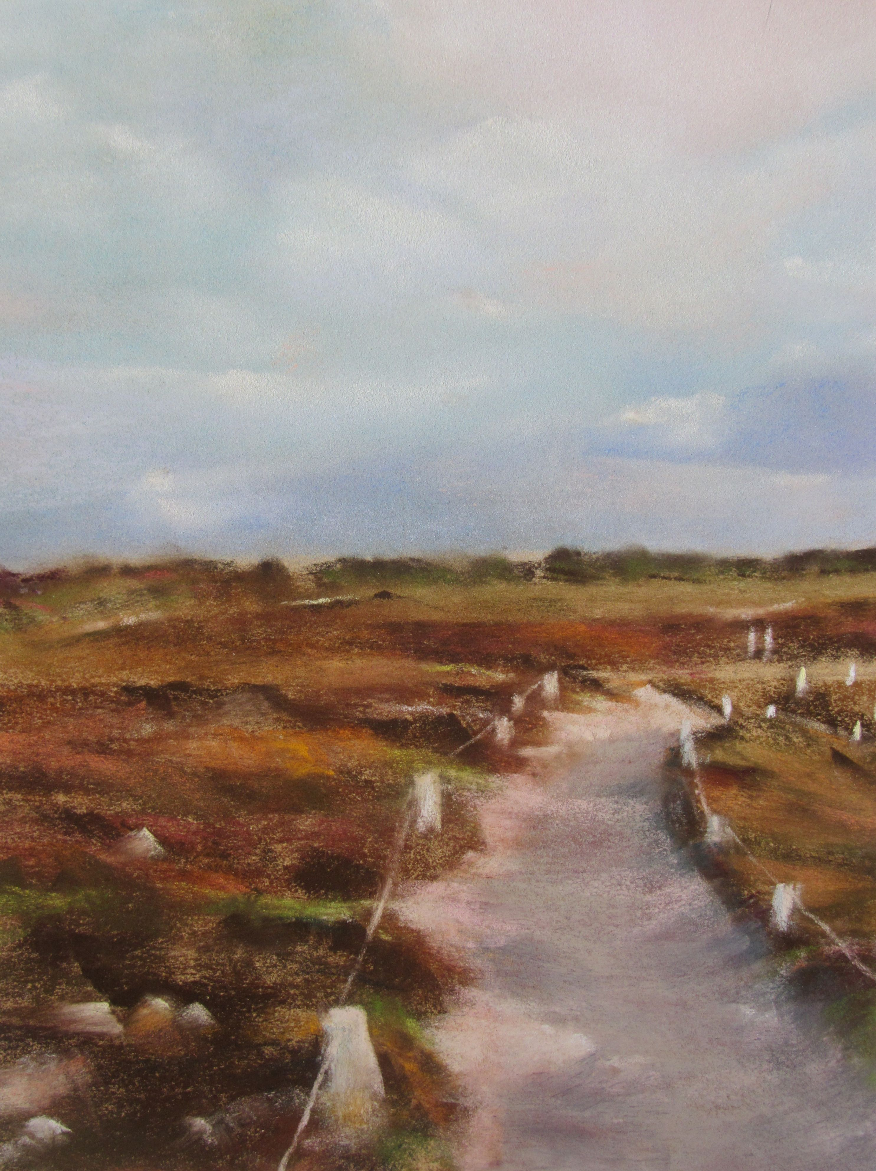 La lande du cap Fréhel - Peinture au pastel sec par Isabelle Douzamy - 30x40cm