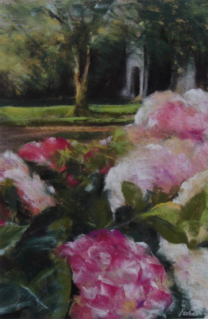 La maison aux Hortensias - Peinture au pastel sec par Isabelle Douzamy - 30x40cm - 400€