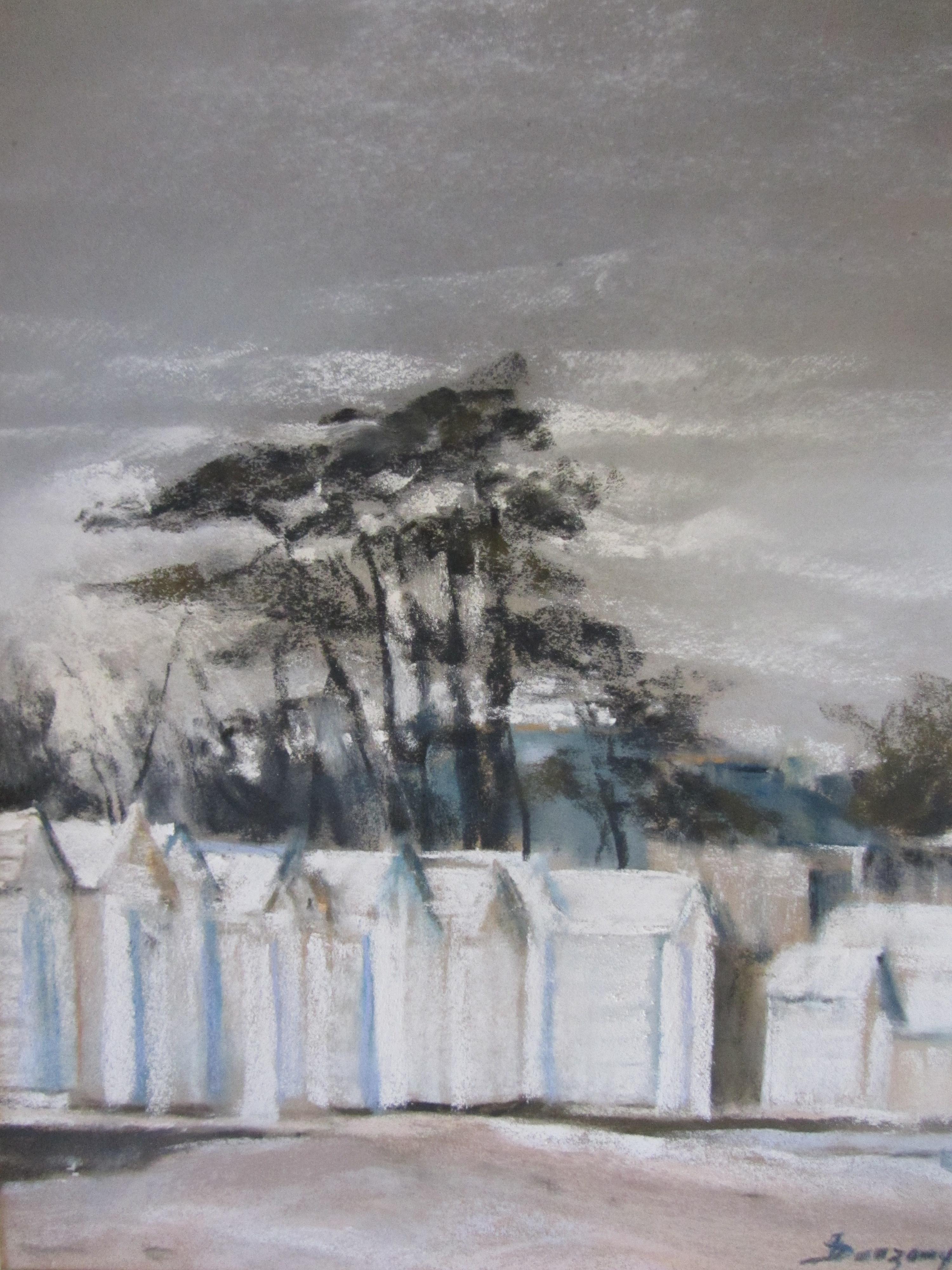 Plage de Lancieux Les Cabines - Pastel sec par l'artiste peintre Isabelle Douzamy - 30x40cm