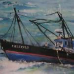 Le Picardie - Bateau de pêche à Saint-Cast - 40x50cm - 1992 - Pastel sec par Isabelle Douzamy - Collection privée