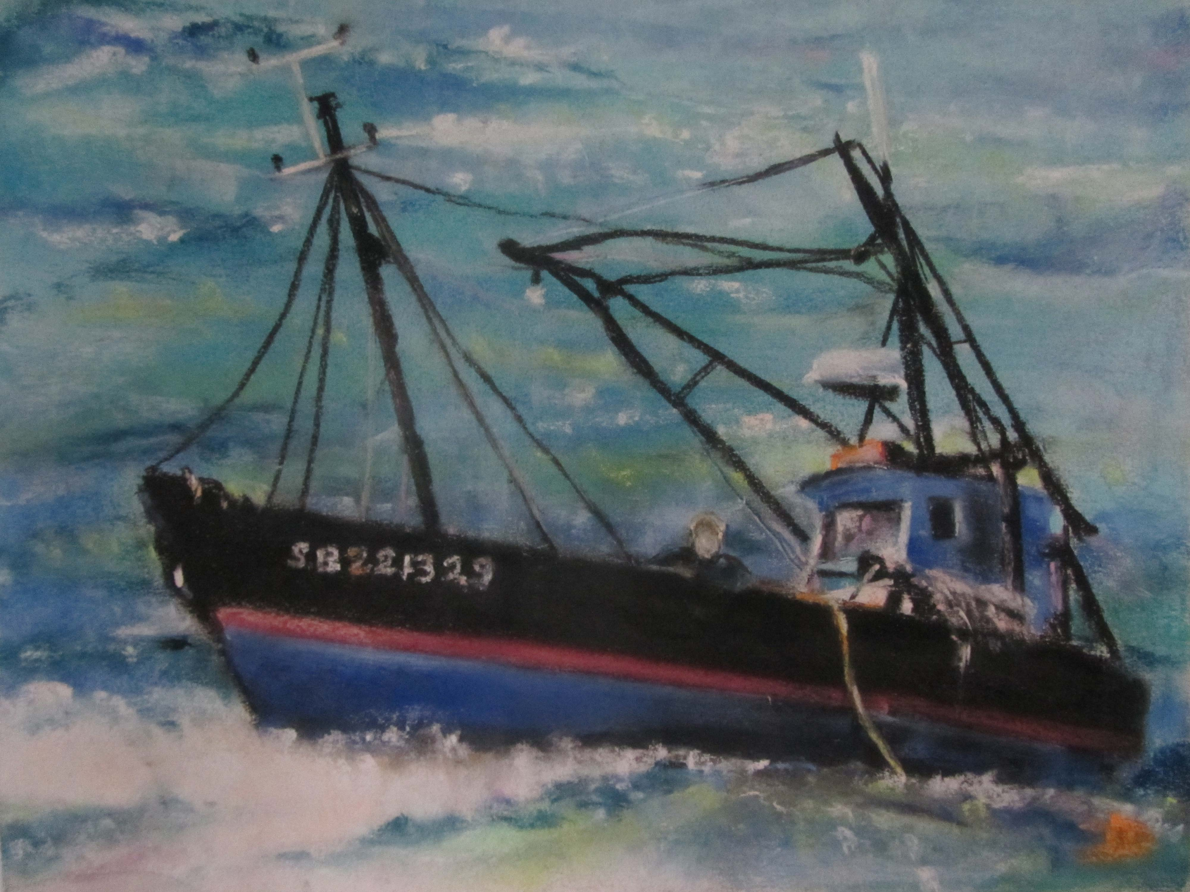 Le Picardie - Bateau de pêche à Saint-Cast - 40x50cm - 1992 - Pastel sec par Isabelle Douzamy