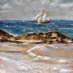 Le Renard de Saint-Malo - Peinture au pastel sec par Isabelle Douzamy - 39x58 cm - Collection privée