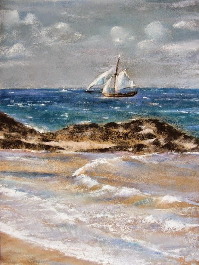 Le Renard de Saint-Malo - Peinture au pastel sec - 39x58 cm