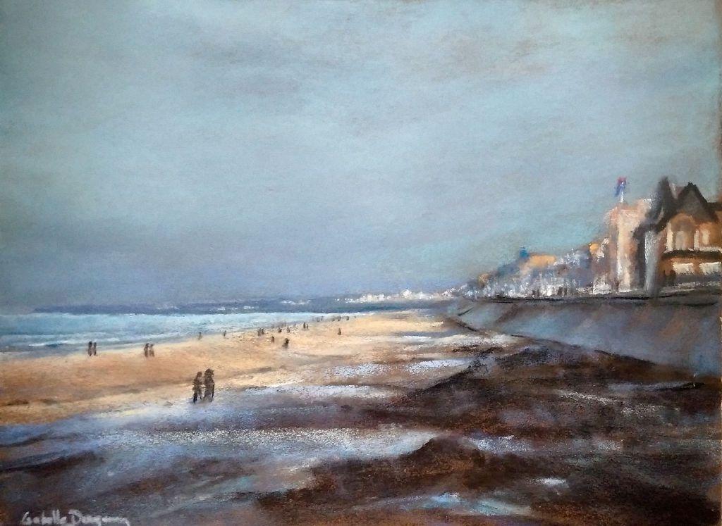 Le Sillon à St-Malo - Peinture au pastel sec par l'artiste peintre Isabelle Douzamy - 40x50 cm (encadré)