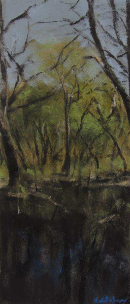 Le bois Bras au Pays de Matignon - Peinture au pastel sec par Isabelle Douzamy - 17x42cm