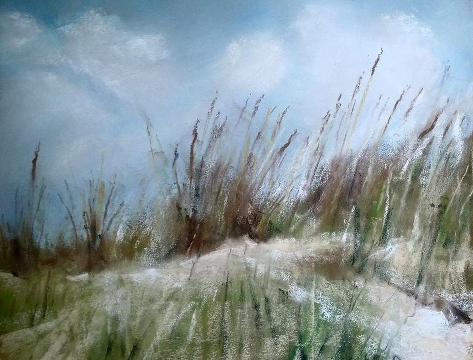 Le cordon dunaire à Sables-d'Or-Les-Pins - Peinture au pastel sec par l'artiste peintre Isabelle Douzamy - 29,5x35cm - 45x41cm (encadré)