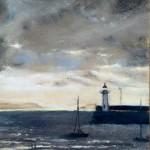 Le phare d'Erquy - Peinture au pastel sec par l'artiste peintre Isabelle Douzamy - 30x57 cm (encadré)