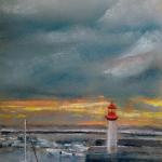 Le port d'Erquy - Peinture au pastel sec par l'artiste peintre Isabelle Douzamy - 30x57 cm (encadré)