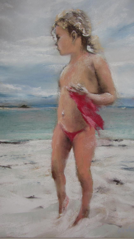 Fillette à la plage - Peinture au pastel sec par Isabelle Douzamy - 40x50cm