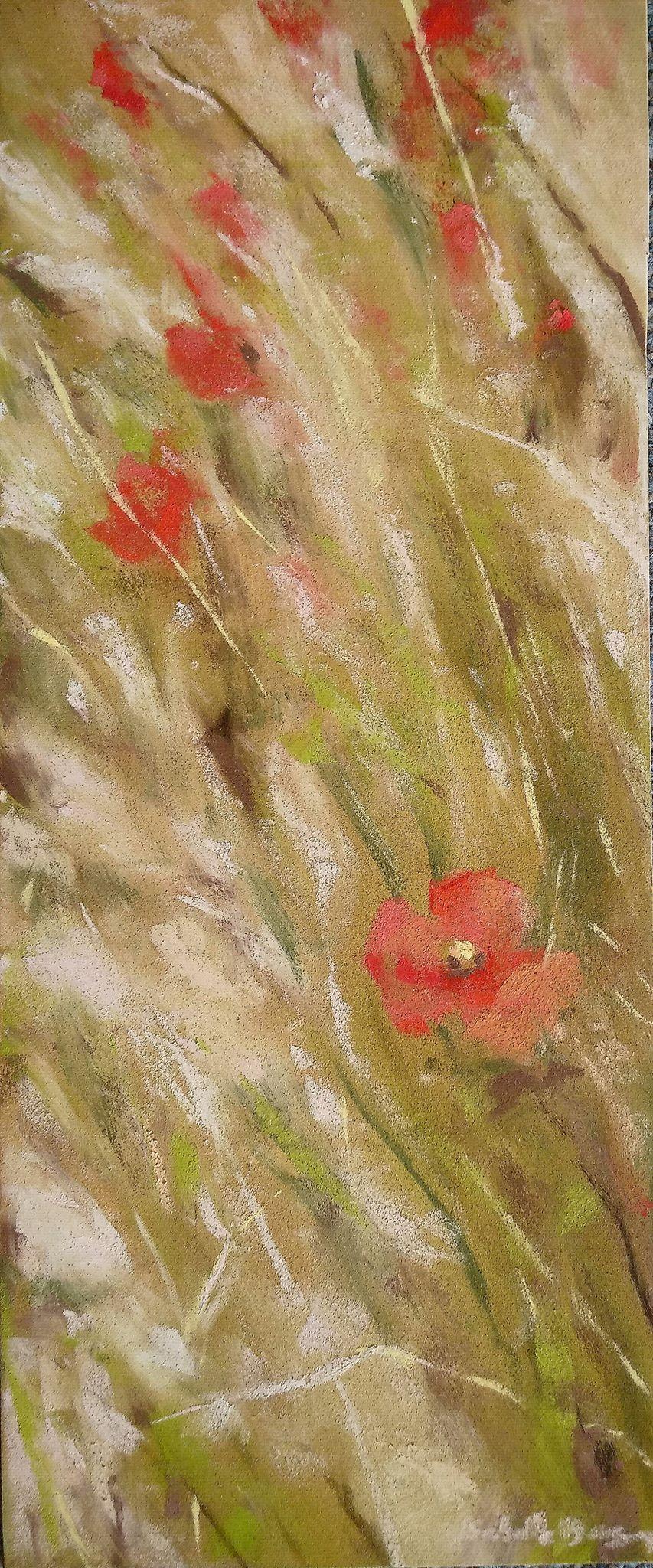 Les coquelicots - Peinture au pastel sec par L'artiste peintre Isabelle Douzamy - 30x57 cm (encadré)