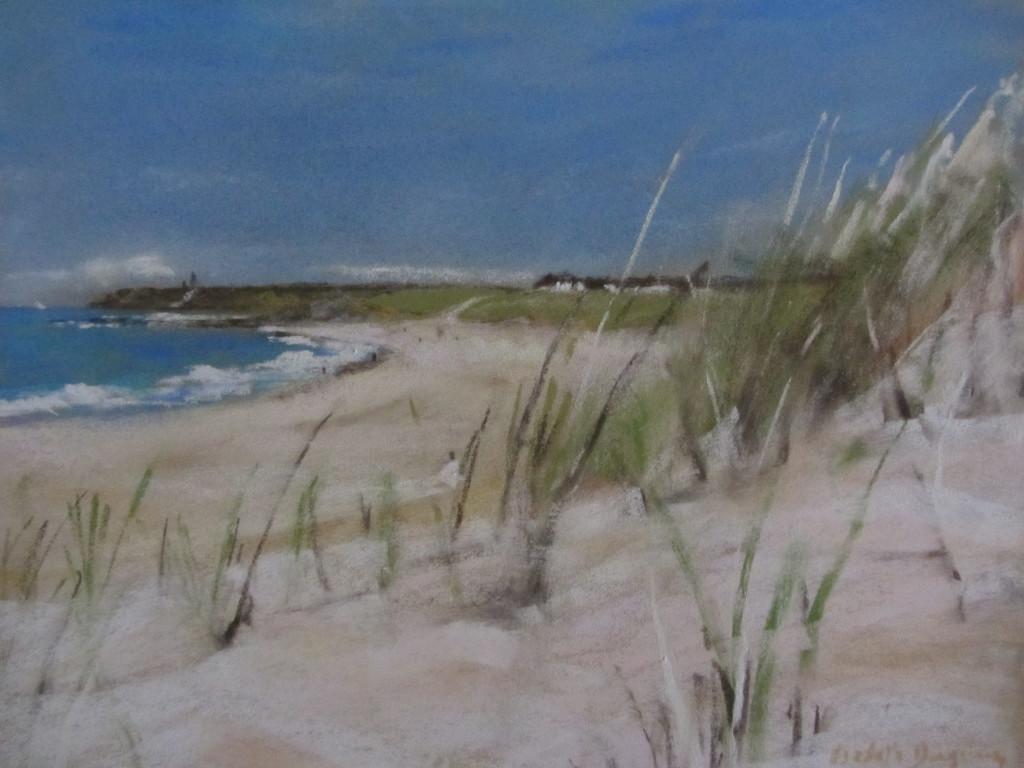 Les herbes plage du Vieux-Bourg Pléhérel - Peinture au pastel sec par Isabelle Douzamy - 30x40cm - 500€