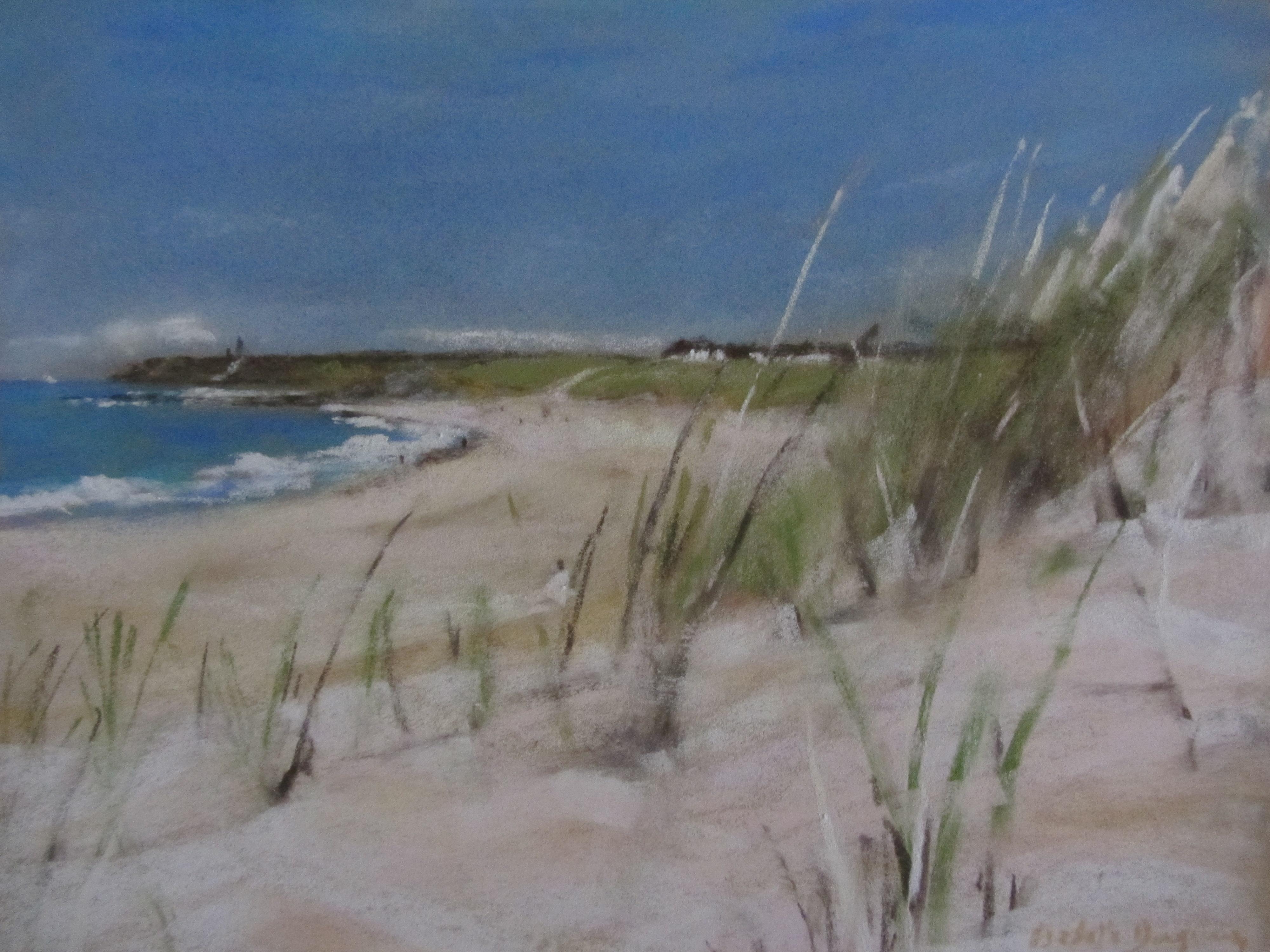 Les herbes plage du Vieux-Bourg Pléhérel - Peinture au pastel sec par Isabelle Douzamy - 30x40cm