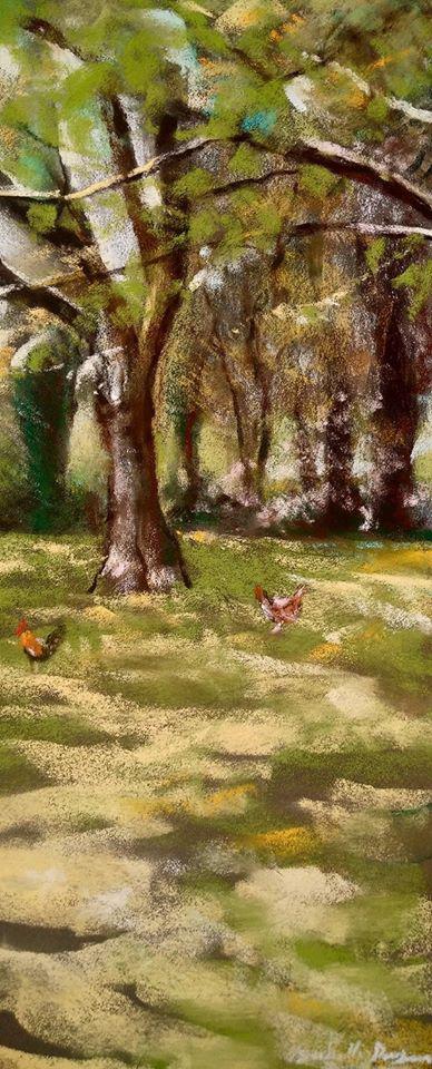 Les poules peinture au pastel sec par l'artiste peintre Isabelle Douzamy - 40x50 cm