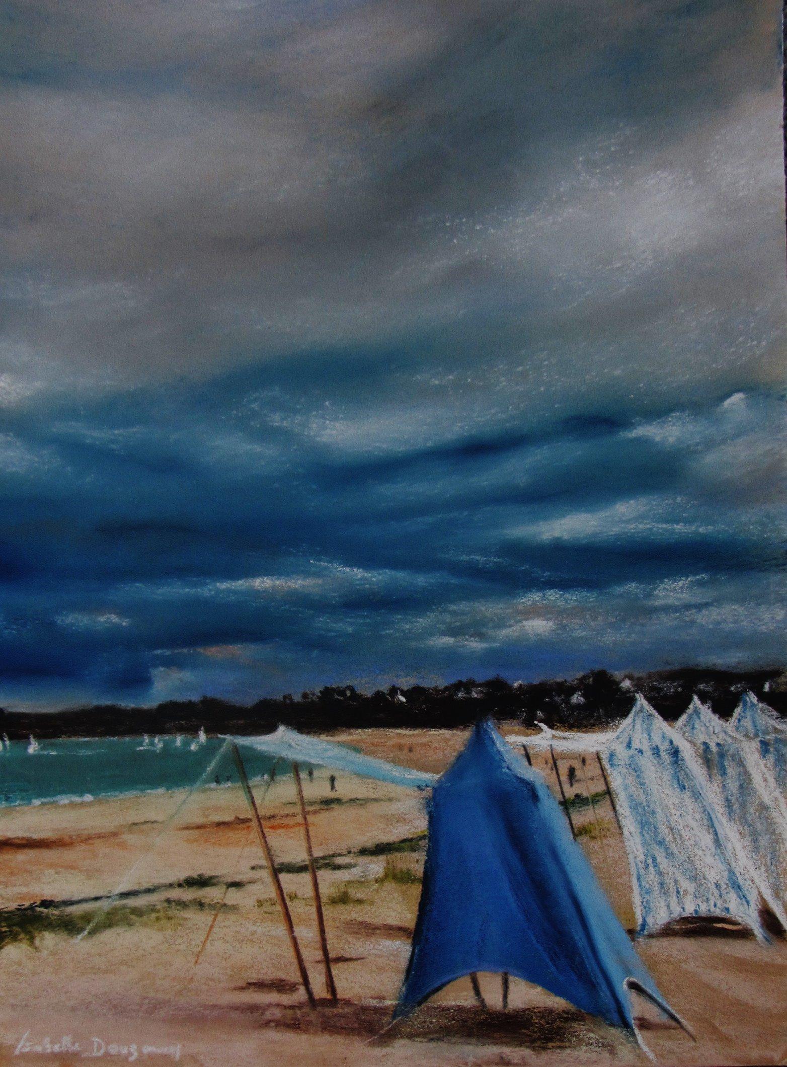 Les tentes sur la plage de Saint-Cast-Le-Guildo - Peinture au pastel sec par l'artiste peintre Isabelle Douzamy - 40x50 cm (encadré)
