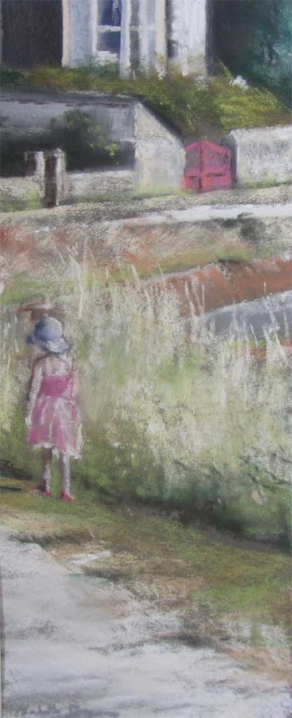 Lumière d'enfance à Saint-Jacut - Peinture au pastel sec par l'artiste peintre Isabelle Douzamy - 57x30 cm