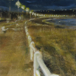 Lumière du soir Saint-Cast - Peinture au pastel sec par isabelle Douzamy - 17x42cm - Collection privée