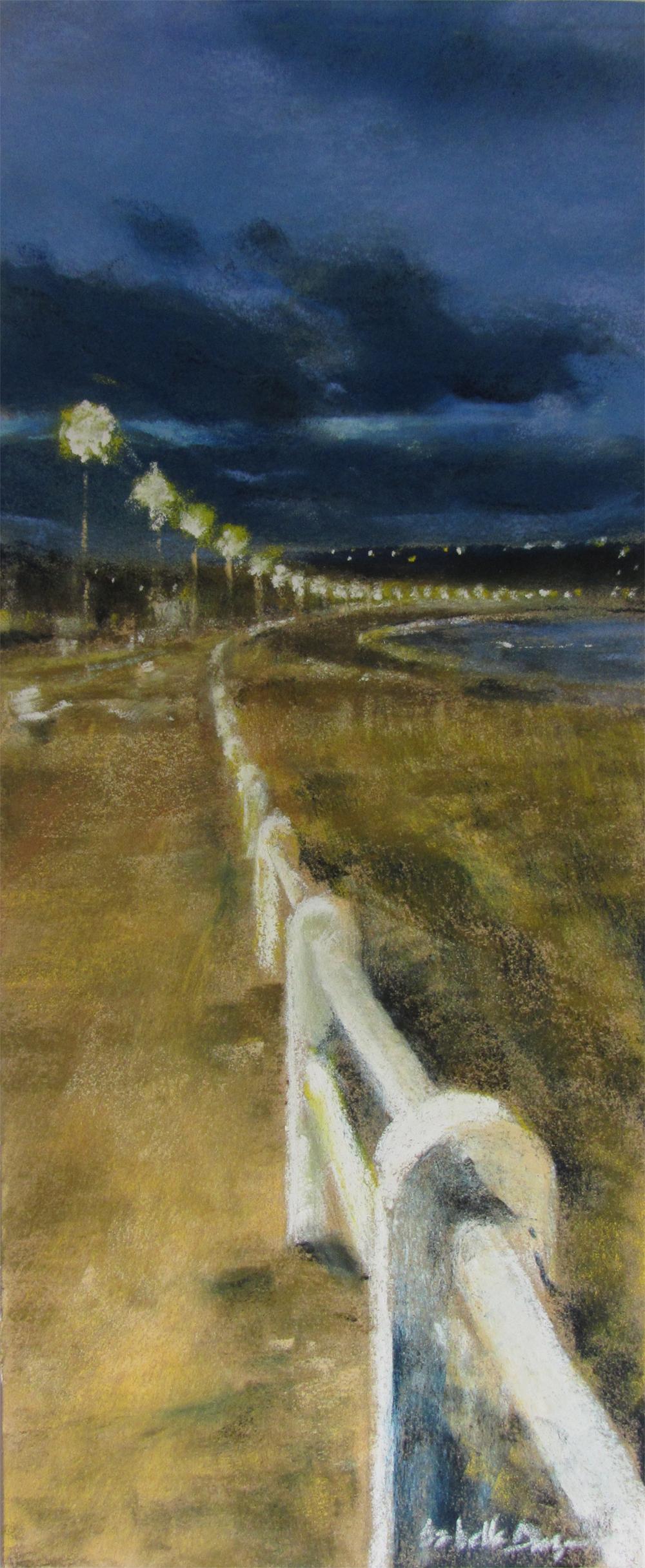 Lumière du soir Saint-Cast - Peinture au pastel sec par isabelle Douzamy - 17x42cm