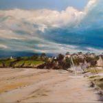 Lumières sur Arvro à Saint-Cast - Peinture au pastel sec par l'artiste peintre Isabelle Douzamy - 70x90 cm (encadré)