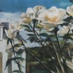 Maison aux rosiers - Pastel sec par Isabelle Douzamy - 50x65cm - Collection privée