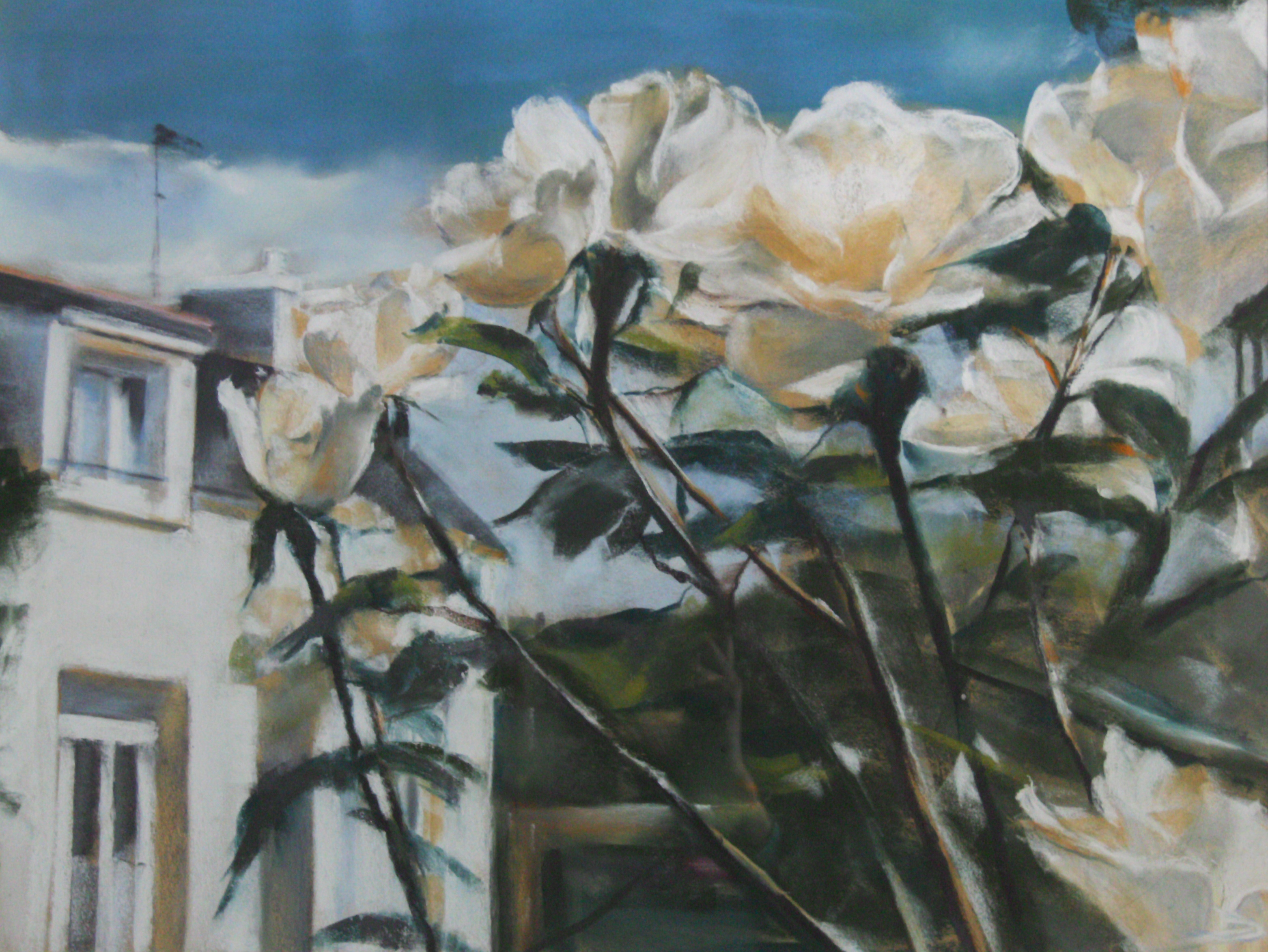 Maison aux rosiers - Pastel sec par Isabelle Douzamy - 50x65cm