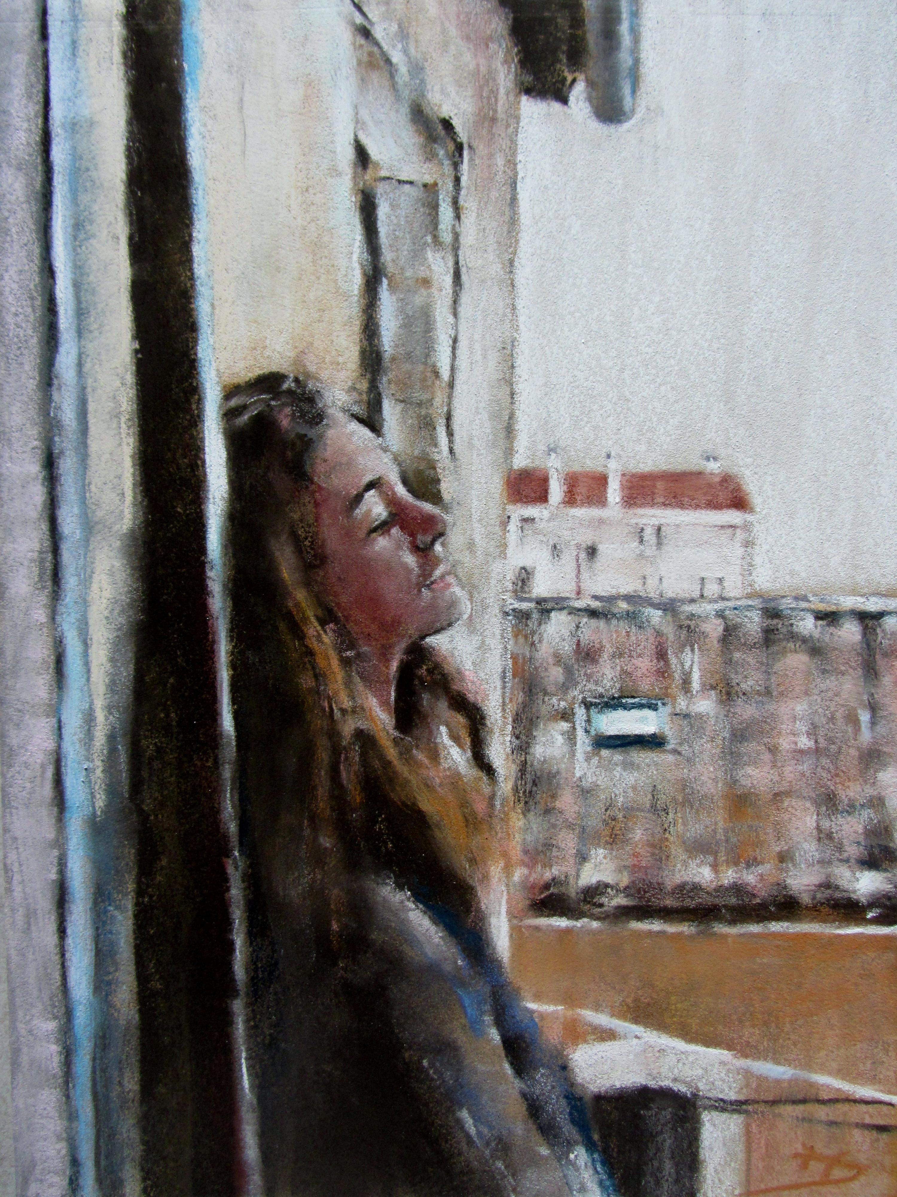 Pensée à Grenade - Pastel sec par Isabelle Douzamy - 30x40 cm