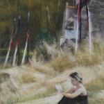 Personnage à Ar Vro - Peinture au pastel sec par Isabelle Douzamy - 40x50cm - 400€