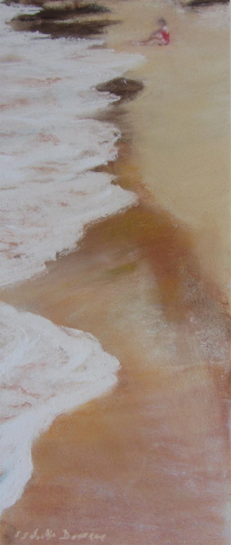 Personnage à la plage de la Pissotte - Peinture au pastel sec par l'artiste peintre Isabelle Douzamy - 30x57 cm encadré