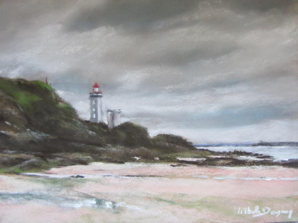Phare du Petit Minou à Plouzané - Peinture au pastel sec par Isabelle Douzamy - 30x40 cm - 500€