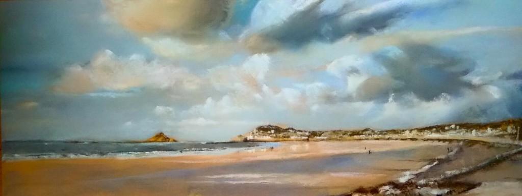 Plage de Pléneuf Val André - Peinture au pastel sec par l'artiste peintre Isabelle Douzamy - Format panoramique 40x102 cm (encadré)