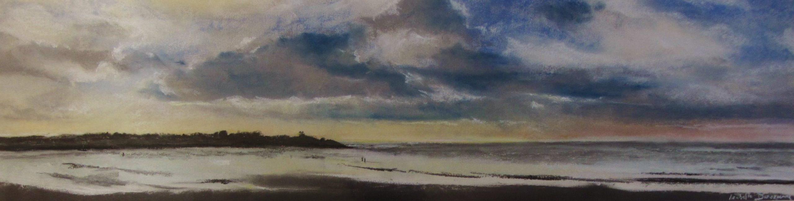 Plage de Pléneuf-Val-André - Peinture au pastel sec par l'artiste peintre Isabelle Douzamy - 36 x105 cm - (Encadré) Format panoramique - oeuvre unique