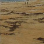 Plage de Saint-Cast-Le-Guildo - Peinture au pastel sec par Isabelle Douzamy - 17x42cm