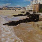 Plage de Saint-Cast-le-guildo - Peinture au pastel sec par Isabelle Douzamy - 56,5 × 76,5 cm (encadré)
