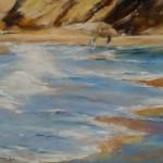 Plage de la Fosse - Plévenon - Peinture au pastel sec par Isabelle Douzamy - 40x50cm