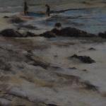Plage de la Fresnaye - Peinture au pastel sec par Isabelle Douzamy - 30x40cm