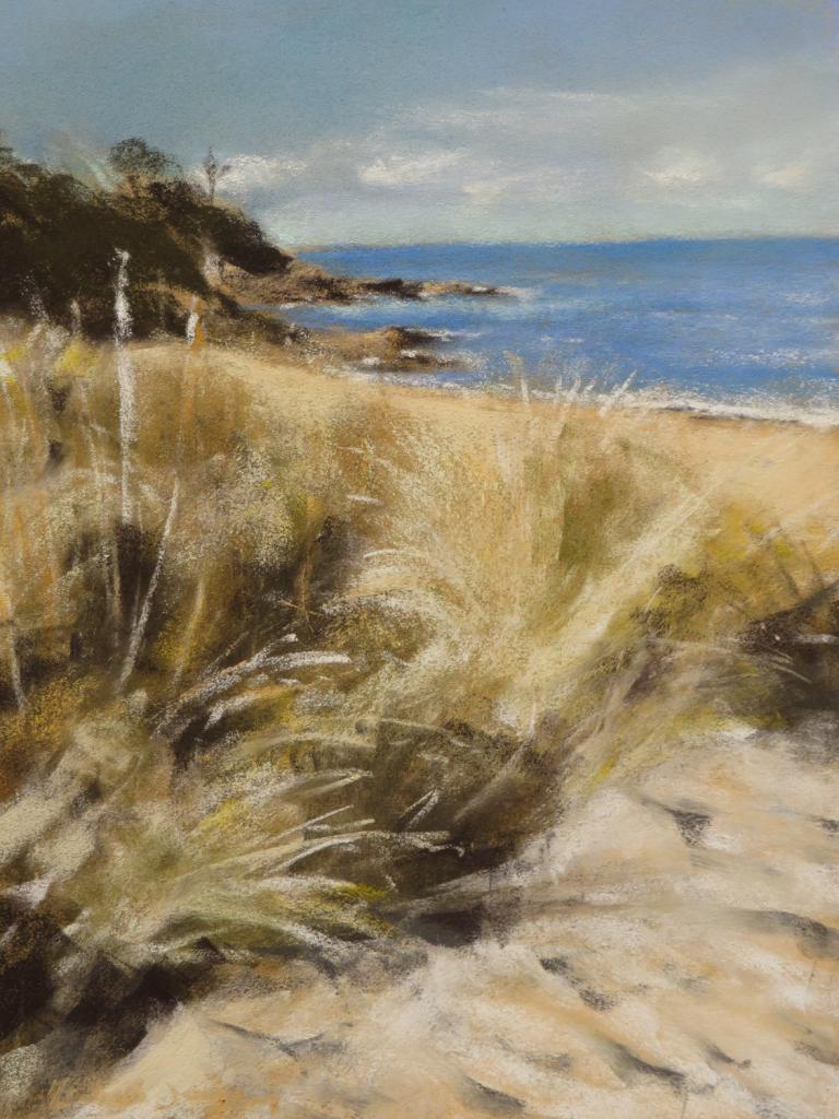 Plage de la Mare - Peinture au pastel sec par Isabelle Douzamy - 30x40cm - Collection privée