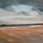 Plage des Sables-d'Or-Les-Pins - Peinture au pastel sec par Isabelle Douzamy - 17x42cm - 300€