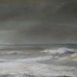 Plage des grèves d'en bas - Pastel sec par l'artiste peintre Isabelle Douzamy - 17.5x41.5cm - - Collection privée