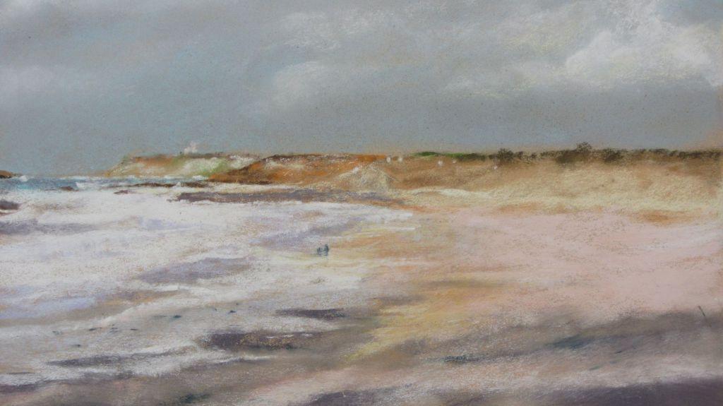 Plage du Vieux Bourg Cap Fréhel - Peinture au pastel sec par Isabelle Douzamy - 30x40cm - 500€